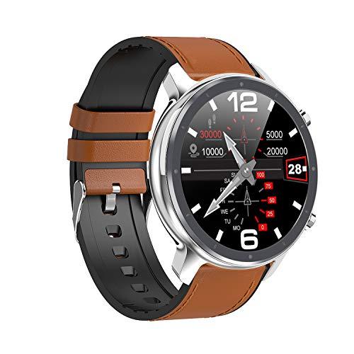 Haude L11 - Reloj inteligente para hombre con monitor de frecuencia cardíaca, IP68, impermeable, reloj inteligente multideportes, color plateado
