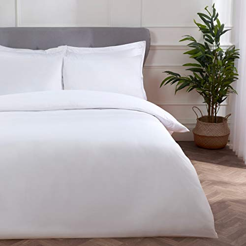Sleepdown Block Microfiber Plain Dye Duvet Cover Quilt Bedding Set with Pillowcase Easy Care Soft Warm Cosy - Single - White