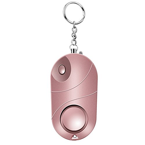 Leeba Alarme personnelle Safe son d'urgence self-défense Alarme de sécurité Keychain LED Lampe de poche pour femmes filles enfants 1 pcs, rose gold