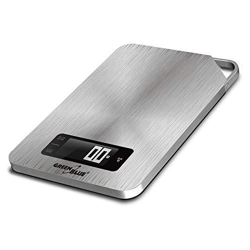 Green Blue GB170 digitale keukenweegschaal roestvrij staal met timer digitale weegschaal elektronische weegschaal tot 5 kg min 1 g Tara-functie, zilver