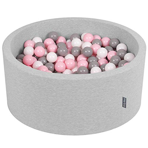KiddyMoon Bällebad 90X40cm/300 Bälle ∅ 7Cm Bällepool Mit Bunten Bällen Für Babys Kinder Rund, Hellgrau:Weiß/Grau/Rosa