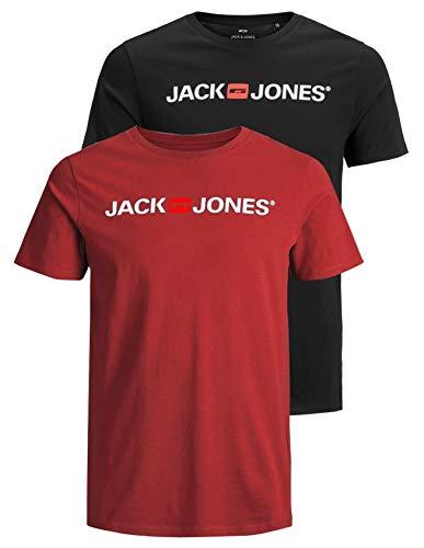 JACK & JONES 12183668 - Maglietta da uomo con logo JJECORP, 2 pezzi Confezione da 2 pezzi multicolore (Rio Red/Black). XL