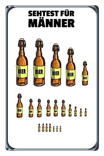 Blechschild 20x30cm gewölbt Sehtest für Männer Bier Spruch Deko Geschenk Schild