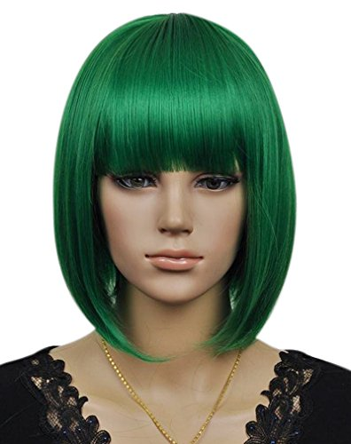 Kalyss Women's Cosplay Party Kanekalon Synthetic Fiber Short Straight Dark Green Bob Hair Full Wigs
