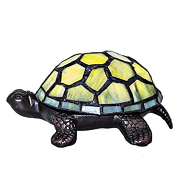 2.5  Stained Glass LED Cordless Turtle Accent Lamp - Green