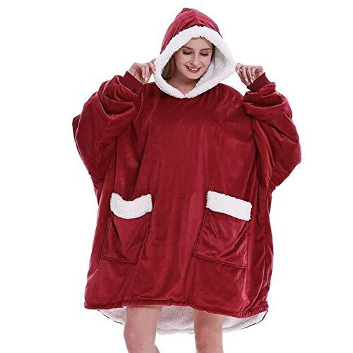 WYHQL Unisex Oversize Decke Hoodie Sweatshirt, Flanell Fluffy Sherpa Kapuze TV-Decke Sweatshirt mit 2 warmen Tasche (Color : Red)