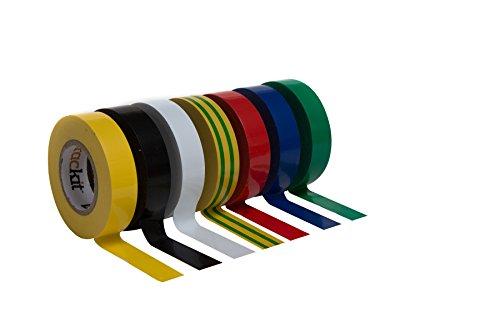 Isolierband bunt 7er Set 17mm 15m Elektriker Klebeband Isoband schwarz rot weiß gelb blau grün gestreift selbstklebend Tape zum Isolieren Elektrik