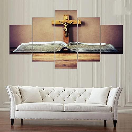 Cuadros Decoracion Salon Modernos 5 Piezas de Lienzo Impresiones Cruz de la Biblia de Jesucristo 5 Piezas Lienzo Arte 5 Cuadros en Lienzo 5 Piezas Artística Lienzo Decoracion