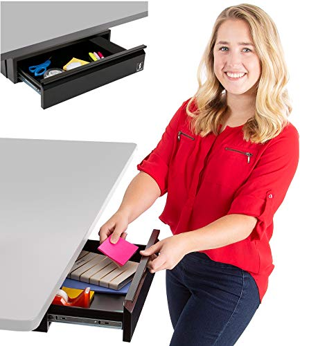 "Stand Steady Attachable Under Desk Drawer | Pull-Out Storage Organizer with Smooth Sliding Tracks | Spacious Storage Drawer Easily Mounts to Desks and Workstations (Black / 17.5"" x 11.5"")"