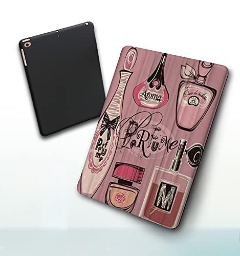 Funda para iPad 9,7 Pulgadas, 2018/2017 Modelo, 6ª / 5ª generación,Moda Mujer Maquillaje Perfume Lujo Varios Smart Leather Stand Cover with Auto Wake/Sleep