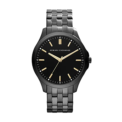 Armani Exchange Men's Hampton Slim Stainless Steel Watch, Color: Black (Model: AX2144)