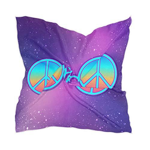 LZXO Damen Schal Galaxy Star Peace Zeichen Quadratischer Schal Kopfschmuck Kopftuch Kopftuch Leichtes Halstuch Stirnband mit 10 x Bobby Pins - 60 x 60 cm