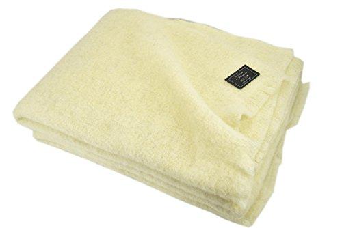 Mohair - Manta ligera de lana pura para cama de matrimonio y individual – Cálida y natural – Marfil, individual