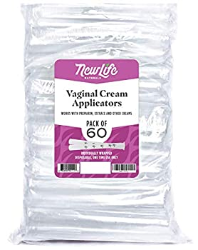 Disposable Plastic Vaginal Applicator Pack  Hygienic Threaded Injector Applicators to Fit Preseed Lubricant Estrace Personal Lube and OTC Gel or Cream Products - With Dosage Measurements - 60 Pack