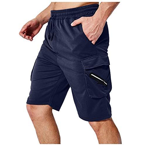 Overdose Pantalones de Verano para Hombres Cintura elástica sólida Pantalones Cortos elásticos Pantalones Deportes Culturismo Informal