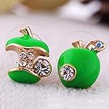KFYU Süße rote Tropfen Glasur asymmetrische Apfel Ohrringe weiblich grün 3253-2