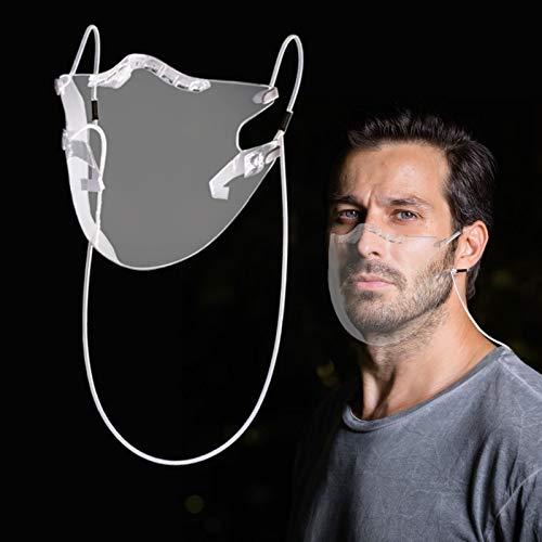 ShilinfUS 1 Stück Transparent Waschbar Mundschutz Erwachsene Atmungsaktiv Mundbedeckung Wiederverwendbar Gesicht Bandanas Multifunktional Halstuch für Outdoor