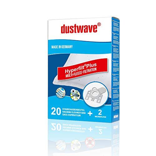 dustwave 20 sacchetti per aspirapolvere per Miele S 250-700 / S241-256 / S 290-299 / S 300-399i / S700-799 / S4000-4999 / S6000-6999 Miele Sacchetto per la polvere Tipo F/. J/M HyClean + Microfiltro.