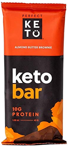 Perfect Keto Bars - The Cleanest Keto Snacks with Collagen and MCT. No Added Sugar, Keto Diet Friendly - 3g Net Carbs, 19g Fat, 10g protein - Keto Diet Food Dessert (Almond Butter Brownie, 12 Bars)
