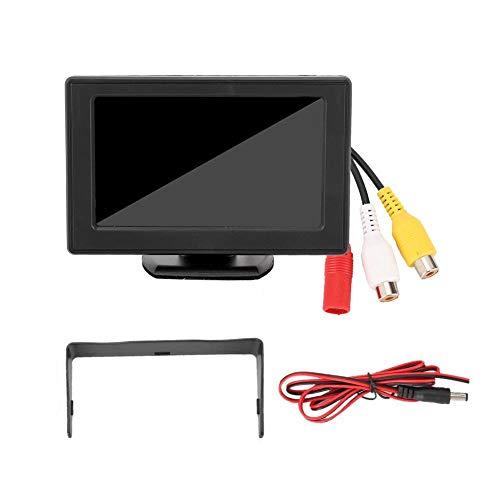 KIMISS Car Monitor, Kunststoff 4,3 Zoll 3 W TFT LCD Bildschirm Auto Rückfahrkamera 2-Wege AV Eingang HD-Monitor für DVD Rückfahrkamera