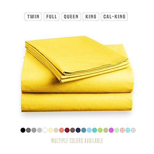 Luxe Bedding Sets - Microfiber Twin Sheet Set 3 Piece Bed Sheets, Deep Pocket Fitted Sheet, Flat Sheet, Pillow Case Twin Size - Bright Yellow