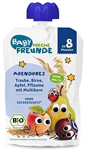 FRECHE FREUNDE Bio Beikost-Quetschie Abendbrei Traube, Birne, Apfel, Pflaume mit Multikorn, vegan, 6er Pack (6x 100g), 600 g