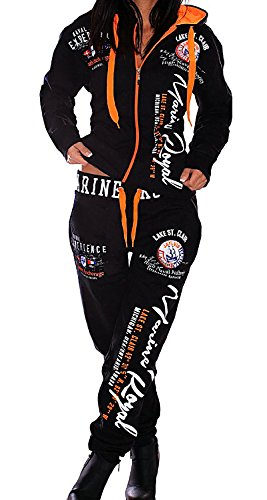 Jaylvis Damen Jogginganzug Sport Fitness Training Trainingsanzug Sportanzug Streetwear Jogger Marine Royal A.2074 schwarz-orange, 52