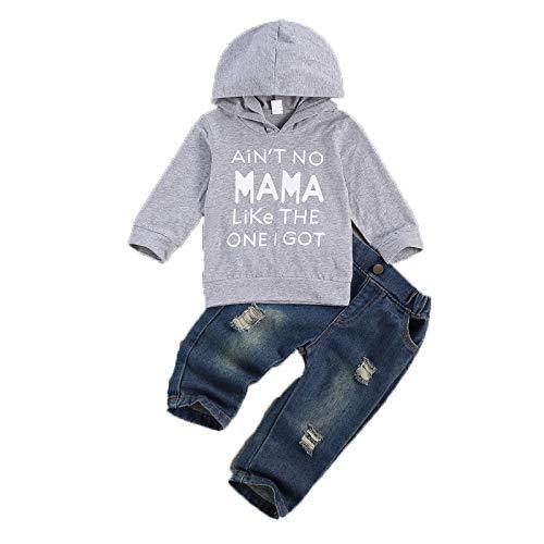 Carolilly 2 Pz Felpa Set da Bambino Neonato Completo Tinta Unita Jeans Strappati con Cappuccio a Maniche Lunghe con Stampa a Lettere per Unisex Baby (Grigio, 2-3 Anni)