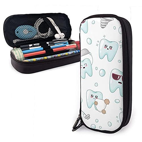 AOOEDM Kawaii Cartoon Dentist Tooth Implant Crown Estuche para lápices de cuero, gran capacidad, duradero, con cremallera, para niños, niñas, niños, estuche para lápices, almacenamiento, maquillaje, c