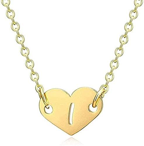 Collar para Mujeres Hombres Collar Romántico Collar Amor Corazón Letra Colgante Collar para Niñas Mujeres Inicial Hueco Alfabeto Colgante Collar Regalo para Mujeres Collar Colgante Cadena para