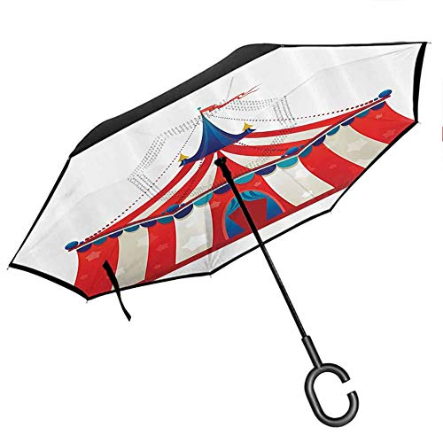 Circus Decor Upside Down Umbrella with C-Shaped Handle Colorful Striped Circus Marquee Tent with Stars Flag Carnival Performance Illustration