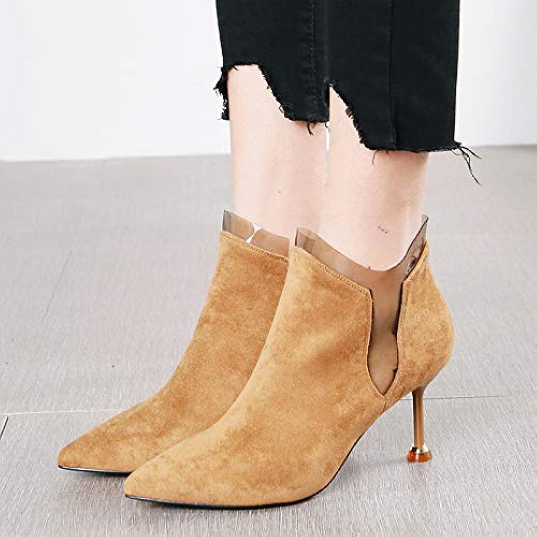 HRCxue Pumps Sexy Mode spitz Temperament Wildleder Stiefel transparente Stiefel Wild Side Reißverschluss Stiletto High Heels Frauen  | eine große Vielfalt