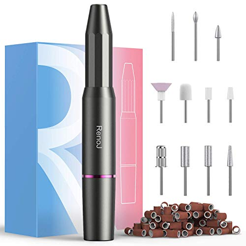 Nail Drill Machine, RenoJ Electric Nail File, Nail drills for Acrylic Nails (Gray)