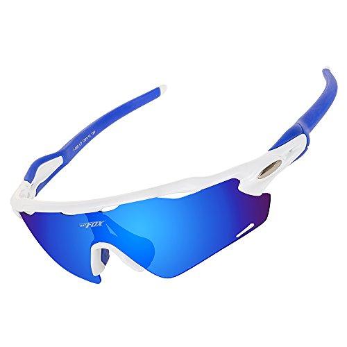 BATFOX Polarisierte Sonnenbrillen Fahrradbrille Radbrille Sportbrille Herren Damen für Radsport Fahrrad Baseball Skifahren Sport Brille mit Wechselobjektiven unzerbrechlichem Rahmen- Rose & Grau