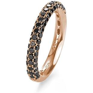 21DIAMONDS Women's Ring Alice 21PREMIUM Black Round Brilliant Cut Diamond Engagement Ring 18K Rose Gold Engagement Ring Rotgold mit schwarzem Diamant:Iracematravel