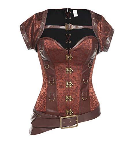 SLIMBELLE Steampunk Gothic Corsage dames volledige borst vintage korset bustier met stalen staafjes sexy brokaatpatroon corset met top vest in bruin o.violet S-2XL