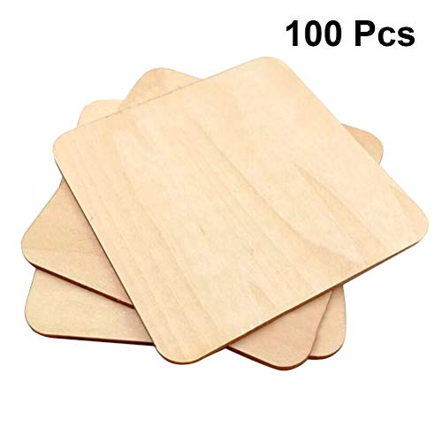Amosfun Piezas de madera natural Cuadrados Sin acabar Recortes de madera Adornos para manualidades DIY Adornos Scrapbooking