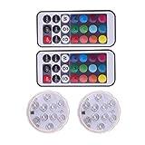 OSALADI 2 piezas 21 teclas luces LED sumergibles luces de piscina de control remoto a prueba de agua con 2 controles remotos para decoración fiesta de acuario