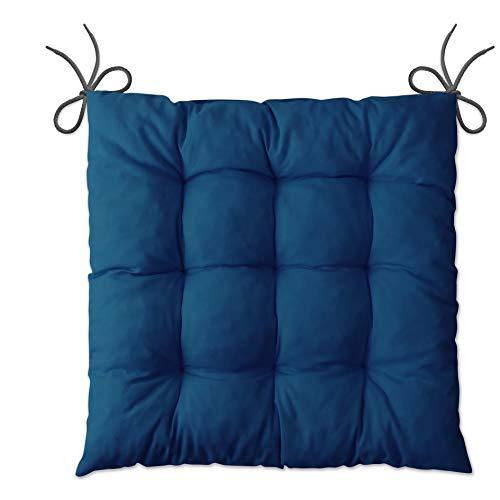 LILENO HOME 4er Set Stuhlkissen Dunkelblau (40x40x6 cm) - Sitzkissen für Gartenstuhl, Küche oder Esszimmerstuhl - Bequeme UV-beständige Indoor u. Outdoor Stuhlauflage als Stuhl Kissen