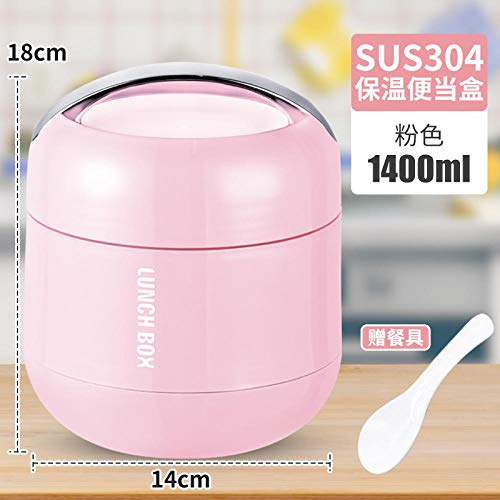 brotdose Bento box Lunch Box Portable Bento Box Stainless Steel Double Layer Portable Carrying Pot-Pink Insulation Rice Holder 1.4L