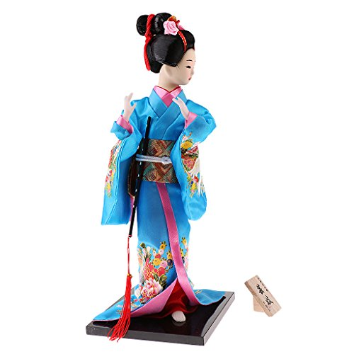 MagiDeal 12inch Japanese Kimono Doll Geisha Figurine Ornaments Gift Art Craft Collectables Blue
