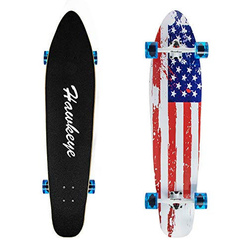 Hawkeye Longboard Skateboard, Cruiser Longboard 42-Inch 8 Ply Artisan Bamboo and Maple Longboard, Professional Complete Skateboard Bamboo Longboard for Youth Adults Girls Boys Kids