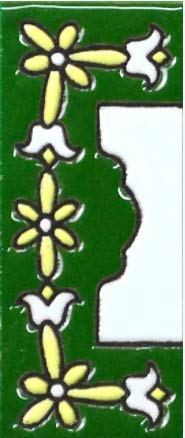 TORO DEL ORO Números para casas. Números y Letras en cerámica esmaltada, Pintados a Mano con la técnica de la cuerda seca. Nombres y direcciones. Modelo Mini Verde 3 cms x 7 cms (Margen