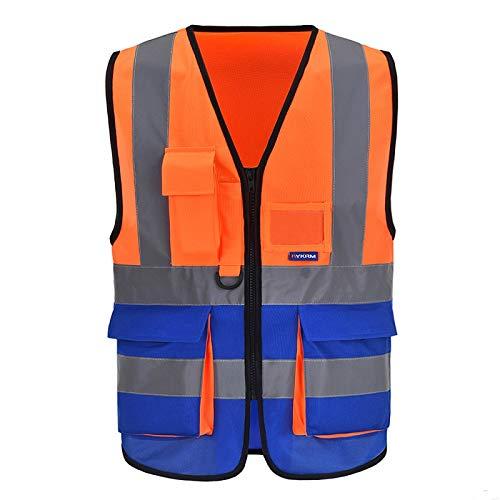 A-SAFETY - Chaleco de seguridad industrial con 9 bolsillos de alta visibilidad con cremallera frontal reflectante, color naranja y azul mezclado, XL
