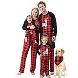 Alueeu Pijamas Navidad para Familias Dos PiezasCasual Ropa Suave y Cómodo Sleepsuit Calientes Homewear Cálido Otoño Invierno Sudadera Chándal Suéter de Navideño