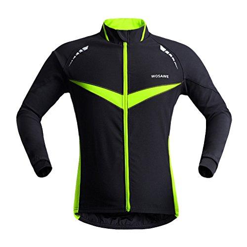 MagiDeal Veste à Manches Longues Chaud d'Hiver Cyclage Thermique à Manches Vélo Vêtements Coupe-vent - comme décrit, L