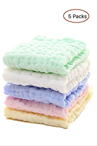 Toallitas para bebé de muselina - Toallitas de algodón 100% naturales para bebés - Toalla suave para bebés recién nacidos y toallita de muselina para piel sensible (5 PCS)
