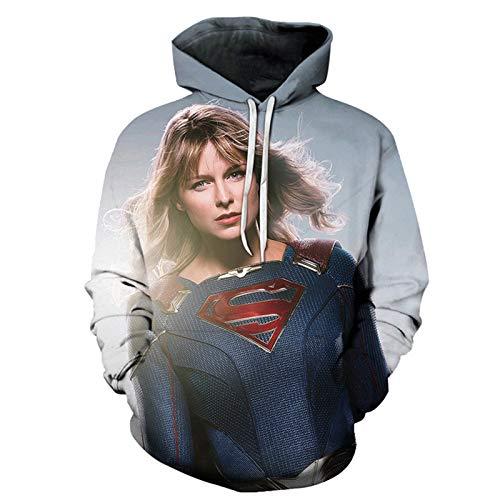 DIDIYICHU -Suéteresbonitos,suéteresimpresosen3D,sudaderasdemodaparaparejas,sudaderasconcapuchademangalargaconcuelloredondo,ropaparaniños,Unisex- Superwoman-L