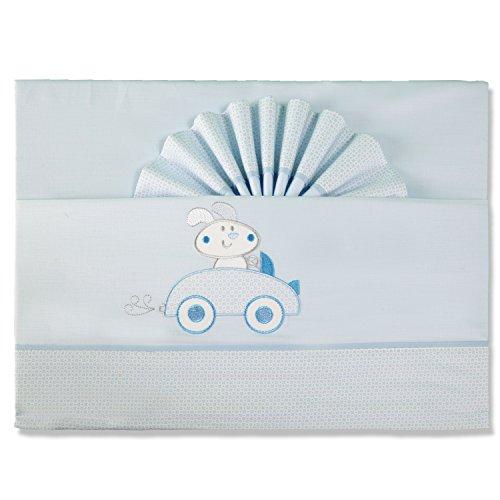 Pekitas - Set di lenzuola sottili per bebè, 3pezzi, per lettino da 60x 120 cm,100% cotone, prodotto in Portogallo blu