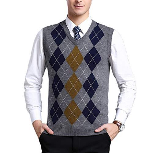 QJKai Herren Business Casual V Ausschnitt Pullover Weste Slim Fit Jacquard Raute ärmellose Pullover Weste weiche warme Strickwaren for den Herbst Winter (Color : A, Size : XXXL)